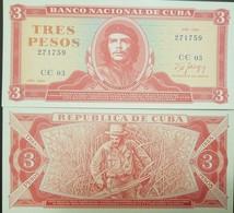 L) 1989 CUBA, BANKNOTES, ERNESTO GUEVARA, VOLUNTARY WORK, FARMING, RED, 3 PESOS, UNC - Cuba
