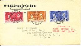 Bermuda FDC 14-5-1937 Coronation Set Sent To USA - Bermuda