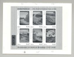 Nevis #1004-1006 Hiroshige Art M/S Of 6 & 2v S/S Black Imperf Chromalin Proofs - St.Kitts And Nevis ( 1983-...)