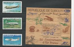 DJIBOUTI Scott C177-c179, C187 Yvert PA183-PA185, BF2 (3+bloc Bois) ** Cote 31,00 $ 1983 - Djibouti (1977-...)