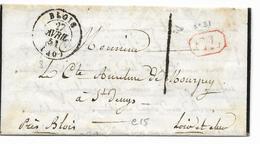 T15 -BLOIS  27 Avril 51  - Lettre Taxée I + CL En Rouge-lettre Pour LE CTE DE MOURPUY Parle De La Paroisse STE ELOI  2 S - 1849-1876: Période Classique