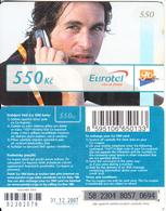 CZECH REPUBLIC - Man On Phone, Eurotel Prepaid Card 550 Kc(small Barcode), Exp.date 31/12/07, Used - Czech Republic