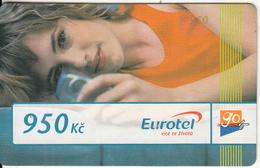 CZECH REPUBLIC - Girl On Phone, Eurotel Prepaid Card 950 Kc(large Barcode), Exp.date 31/12/08, Used - Czech Republic