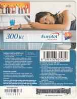 CZECH REPUBLIC - Girl On Phone, Eurotel Prepaid Card 300 Kc(small Barcode), Used - Czech Republic