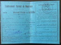 63 LE MONT DORE ETABLISSEMENT THERMAL 1919 BUVETTES CARTE D'ACCÈS - Le Mont Dore