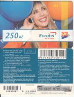 CZECH REPUBLIC - Girl On Phone, Eurotel Prepaid Card 250 Kc(large Barcode), Exp.date 31/12/08, Used - Czech Republic
