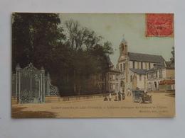 C.P.A. Colorée 91 SAINT-GERMAIN LES CORBEIL : L'Entrée Du Château Et L'Eglise , Animé, Timbre 1906 - France