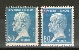 """2 N°176*_1 """"R"""" Coupé_papier Jaune Papier Blanc_1 Plus Grand - 1922-26 Pasteur"""