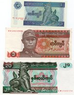 MYANMAR 1 KYAT-1990,1 KYAT 1996,20 KYATS 1994  P-67,69,72  UNC - Myanmar
