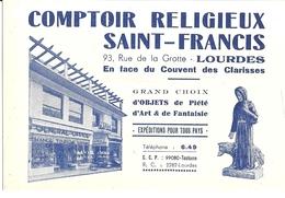 COMPTOIR RELIGIEUX SAINT-FRANCOIS  LOURDES - Cartoncini Da Visita