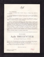 UCCLE Georgette CHAPUIS épouse André BREGENTZER 62 Ans 1964 Famille TOLSTOY JARNOUEN WALCKIERS - Avvisi Di Necrologio
