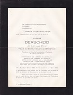 UCCLE Gabrielle BRAUN épouse Gustave DERSCHEID  Infirmière 1880-1960 Faire-part De L'Office D'Identification STERREBEEK - Avvisi Di Necrologio