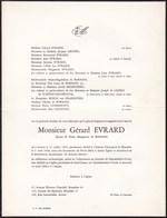 UCCLE Gérard EVRARD époux De BORMAN 1905-1968 Enterré Uccle Cimetière De VEEREWINKEL - Avvisi Di Necrologio