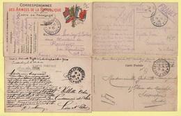 Armee D Orient - Lot De 4 Cartes Obliterees Du Secteur 502 - Marcophilie (Lettres)