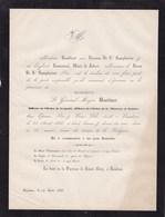 BAUDOUR Général-major BOUILLIART 55 Ans 1866 Famille De St Symphorien - Avvisi Di Necrologio
