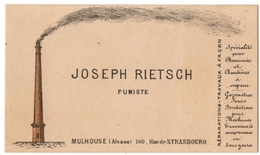 CARTE De VISITE. JOSEPH RIETSCH. FUMISTE à MULHOUSE ( ALSACE ) - Cartoncini Da Visita