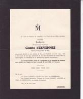 SCY Ludovic Comte D'ESPIENNES Ancien Bourgmestre De SCY 82 Ans 1940 Famille CORNET D'ELZIUS - Avvisi Di Necrologio