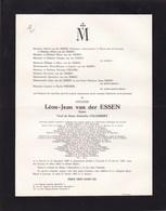 ANVERS LOUVAIN Professeur Histoire Université Catholique Léon Van Der ESSEN Anvers 1883 - LV 1963.Académie Flamande - Avvisi Di Necrologio