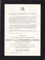 GRASSE Jacques Baron Van Den BRANDEN De REETH Chevalier Du Saint-Empire 1908-1962 - Avvisi Di Necrologio