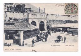 Jolie CPA Animée, Gibraltar, Le Marché. A Voyagé En 1904 - Gibraltar