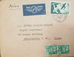 O) 1948 FRANCE, AIRMAIL, CENTAUR AND PLANE AP7 40F., MARIANNE 4F. TO PHILADELPHIA - Airmail