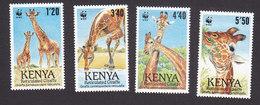 Kenya, Scott #491-494, Mint Hinged, Giraffes, Issued 1989 - Kenya (1963-...)