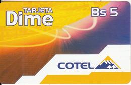 BOLIVIA - Tarjeta Dime, Cotel Prepaid Card Bs 5, 12/02, Used - Bolivia
