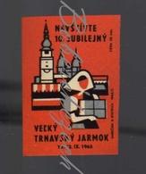 70-109 CZECHOSLOVAKIA 1965 Trnava Jarmark - Fair Feria Cathedral Of St. John The Baptist + Tower In The Historical Cent - Boites D'allumettes - Etiquettes