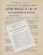 Profession De Foi - Elections Municipales De SAULCET (03 Allier ) - 1912 - + Bulletin - - Documenti Storici