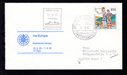 DEUTSCHE SCHIFFSPOST Ms Europa Hapag-Lloyd KREUZFAHRTEN 25.8.92 + Cachet  - Non Classés