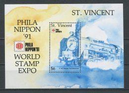 St VINCENT 1991 Bloc N° 135 ** Neuf = MNH Superbe Cote 7 € Trains Locomotive C62 Phila Nippon Transports - St.Vincent (1979-...)