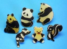 6 PIN'S //   ** OURS PANDA & AUTRES BLACK & WHITE ** - Badges