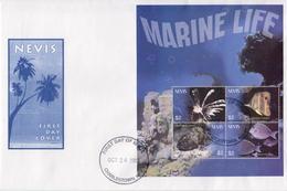 Nevis Marine Life Sheetlet On FDC - Marine Life