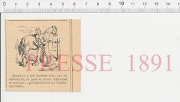 Presse 1891 Humour Ancienne étrille à Panser Les Chevaux Pansage Cheval écurie Musique Trilles Solfège Trille 216PF10XQ - Vieux Papiers