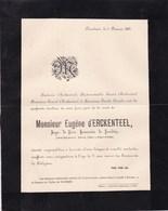 NANDRIN Eugène D'ERCKENTEEL Juge De Paix Honoraire 71 Ans 1889 Famille BRIXHE Faire-part Mortuaire - Avvisi Di Necrologio