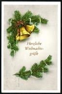 B3089 - Glückwunschkarte - Weihnachten - Tannenzweig Glocken - Gel 1962 - Weihnachten