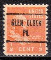 USA Precancel Vorausentwertung Preo, Locals Pennsylvania, Glen Olden 723 - Vereinigte Staaten