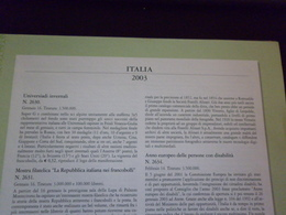 ITALIA 2003 FOGLI MARINI PER QUARTINE - Francobolli