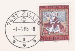 No 130.2.01 Sur Carte Maximum Oblitérée ZILLIS L1 1.6.1966 - Errores & Curiosidades