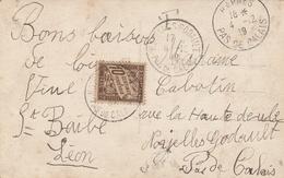 CARTE Du 3/12/19 TAXÉE à 10 Ct (St QUENTIN/HARNES/NOYELLES GODAULT) - 1859-1955 Storia Postale