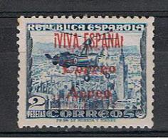 SPAGNA:  1937  P. A. SOPRASTAMPATO  -  2 P. ARDESIA  N. - TIMBRETTO  SUL  RETRO  -  YV/TELL. 181 - Airmail