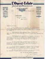 35 - ILLE ET VILAINE - RENNES - FACTURE/LETTRE - 1937 - L'OUEST ECLAIR / LETTRE SUR COURSE CYCLISTE - Frankrijk