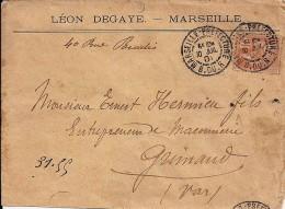 13 - BOUCHES DU RHONE - MARSEILLE-PREFECTURE -  DAGUIN SOLO A2b   - 1901 - Marcophilie (Lettres)