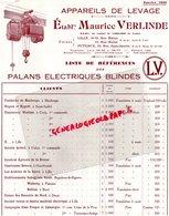 59- LILLE- 92- PUTEAUX- RARE CATALOGUE MAURICE VERLINDE-APPAREILS DE LEVAGE- PALANS ELECTRIQUES BLINDES-1930 - Straßenhandel Und Kleingewerbe