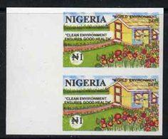 55475 Nigeria 1993 World Environment Day 1n Suburban Garden Imperf Pair Unmounted Mint, SG 656var - Nigeria (1961-...)