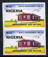 55477 Nigeria 1993 World Environment Day 10n Rural House Imperf Pair Unmounted Mint, SG 658var - Nigeria (1961-...)