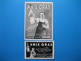 (1938 & 1940) Anisette ANIS GRAS - Rue Des Moulins à Alger - Vieux Papiers
