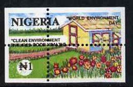 55483 Nigeria 1993 (Gardens)  World Environment Day 1n Suburban Garden With Vert & Horiz Perfs Misplaced - Nigeria (1961-...)