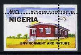 55484 Nigeria 1993 (Housing) World Environment Day 10n Rural House With Vert & Horiz Perfs Misplaced - Nigeria (1961-...)