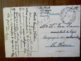 Postkaart           Militaire Belgische Post    1919 Naar LE HAVRE - 1914-18